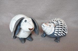 lapin et hérisson en raku
