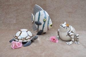 poisson tortue grenouille en raku