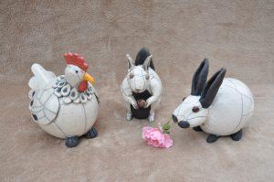 poule, lapin, écureuil en raku
