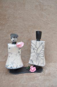 couple de bouteilles en raku
